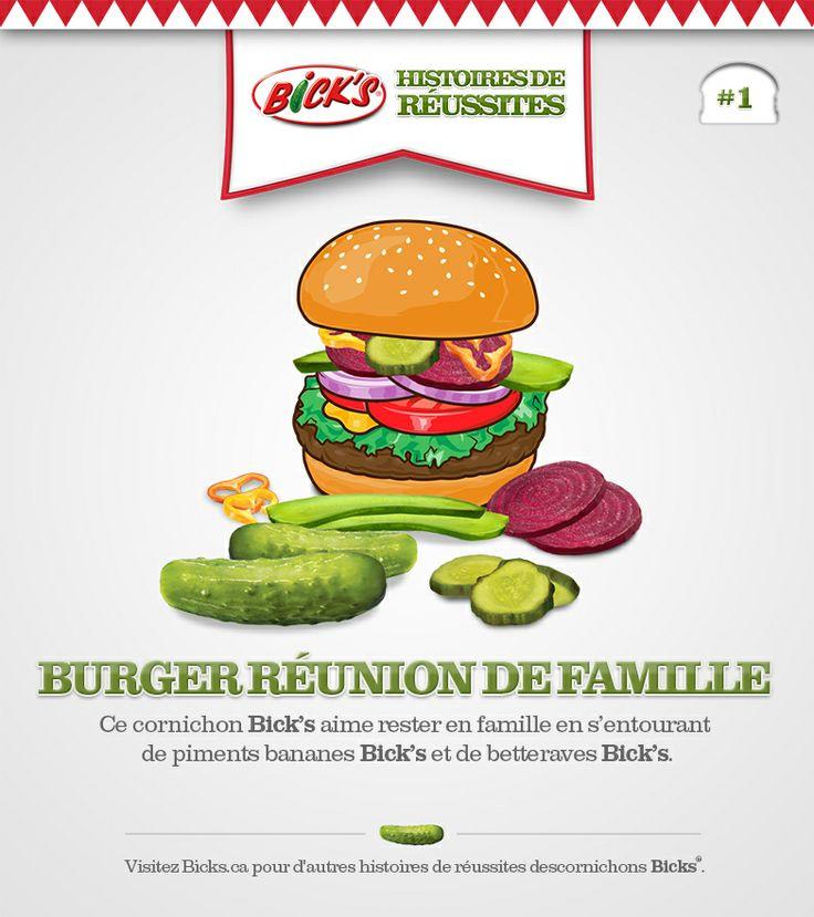 Histoires de réussites Bick's® Découvrez certains des délicieux burgers que les cornichons Bick's® ont choisis comme domicile.
