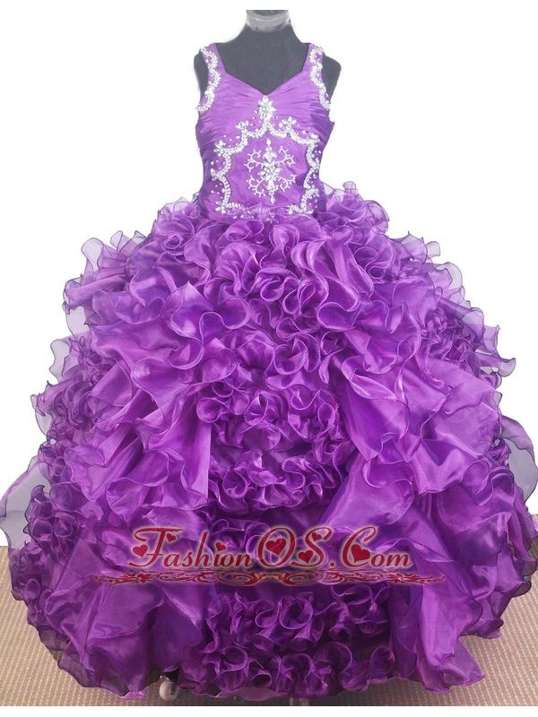 Luxurious Beading and Ruffles Ball Gown V-neck Little Gril Pageant Dress Floor-length    http://www.fashionos.com  http://www.facebook.com/quinceaneradress.fashionos.us   Marvelous Little Girl Pageant Dress. This organza pageant dress features a beaded halter neckline, fitted and beaded embroidered bodice.A ruffled ball gown skirt completes the look of this pageant dress. This dazzling dress will make your special day even brighter.