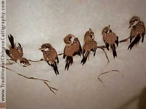Eight Lucky Chinese Sparrows for 2009; Chinese Bird and Flower Painting. Yang O-shi inspired. - YouTube