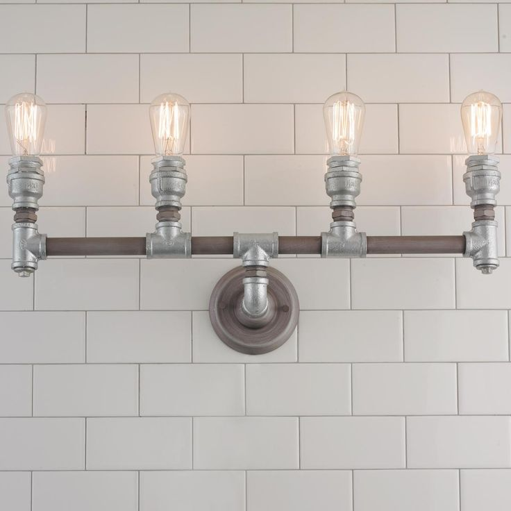 Industrial Pipe Vanity Light 4 Light Iron Pipe Pipes