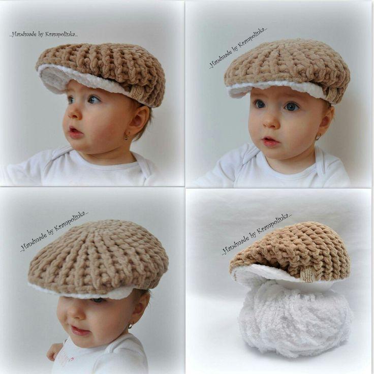 Peaked baby crochet hat