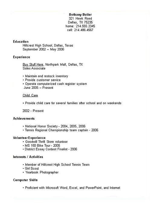 example of resume for students sample resumes for highschool