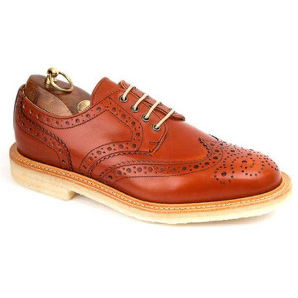 Sanders Alfie Men's Brogue ($340) ❤ liked on Polyvore featuring men's fashion, men's shoes, men's oxfords, mens tan shoes, mens brogue shoes, jil sander mens shoes, mens brogues and mens tan brogues