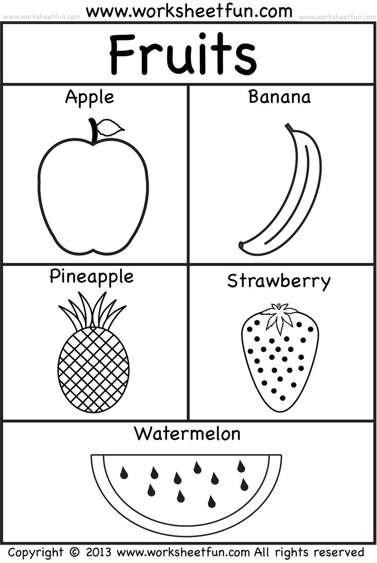 fruits School Prep Pinterest Worksheets Free