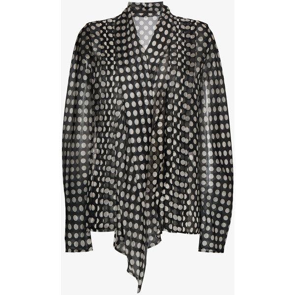 Haider Ackermann Polka Dot Blouse ($1,165) ❤ liked on Polyvore featuring tops, blouses, black, dot blouse, dot top, polka dot top, polka dot blouse and haider ackermann