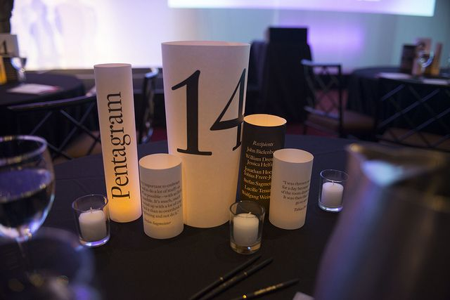 table decor - simple silos and votive candles - corporate event