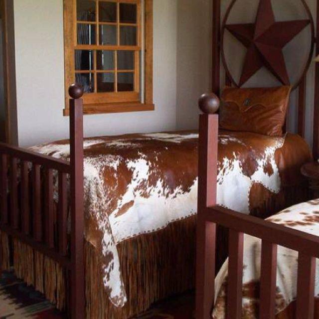 Western Style Twin Beds With Cowhide