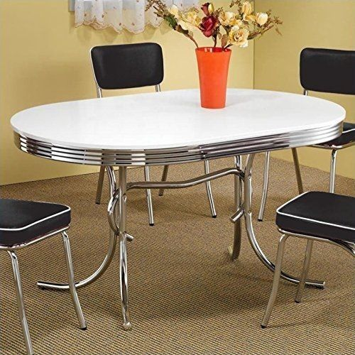 Vintage Dining Table 50s Retro Diner Mid Century Chrome Small Kitchen Oval White And Kitchens