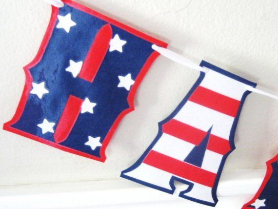 HAPPY BIRTHDAY Banner - Stars and Stripes Red White and Blue on Etsy, $20.00