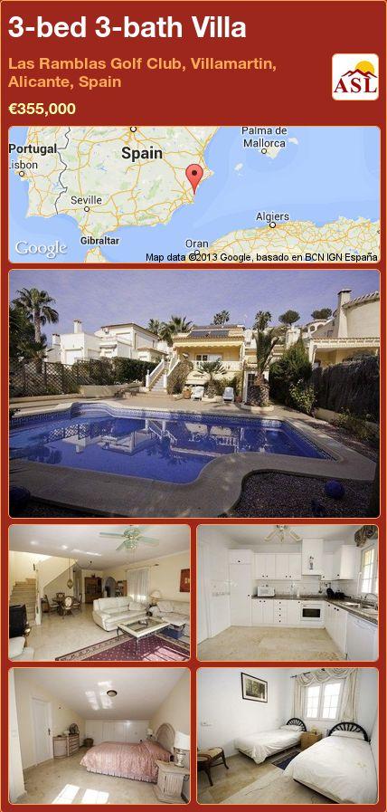 3-bed 3-bath Villa in Las Ramblas Golf Club, Villamartin, Alicante, Spain ►€355,000 #PropertyForSaleInSpain
