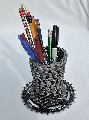 Recycled bicycle chain pencil or pen holer – Recycled Bicycle Art