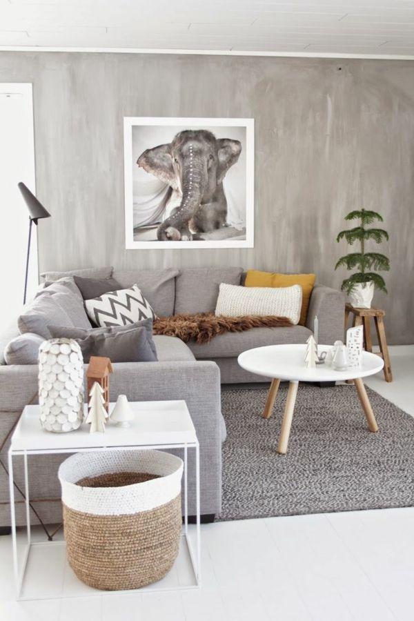 Farbgestaltung Wohnzimmer Wandfarben Gestalten Betonoptik