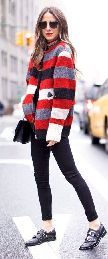 #winter #fashion /  Striped Jacket / Black Skinny Jeans / Black Boots