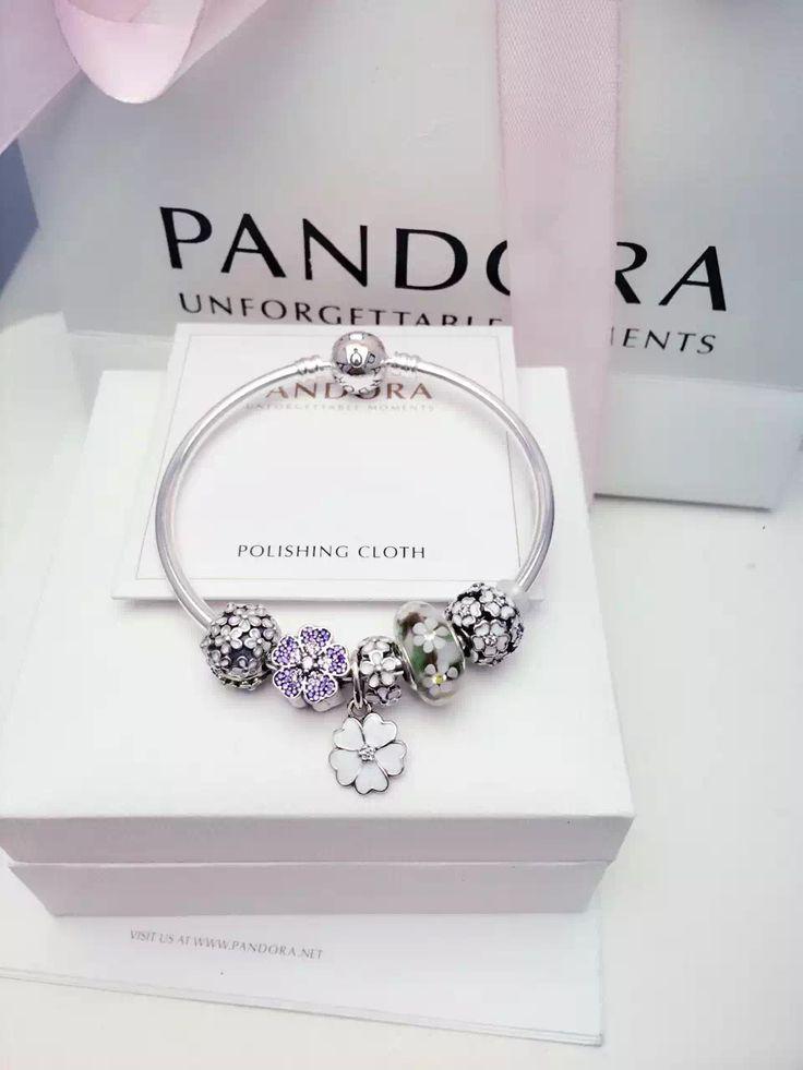 $179 Pandora Bangle Charm Bracelet White Purple Green. Hot