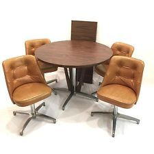 Eames Style MCM Laminate Rosewood Table 1 Leaf W 4 Vinyl Swivel Dining Chairs