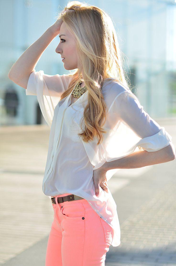 neon jeans!sheer top !