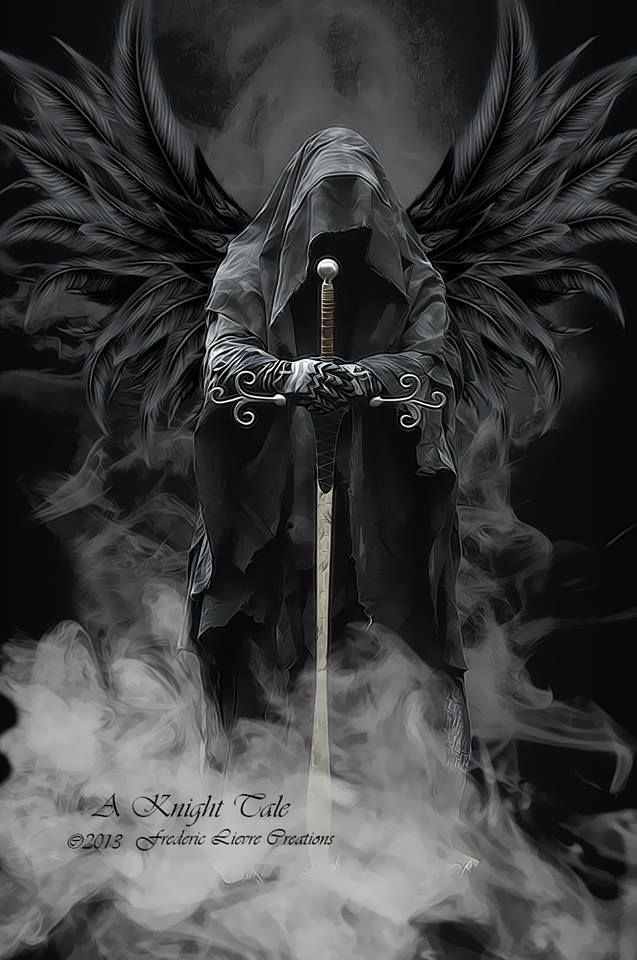 angel of death black wings hooded face sword, grim reaper