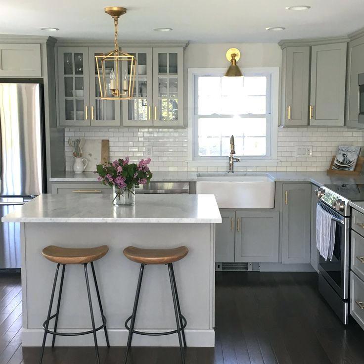 Grey Kitchen Cabinets With Quartz Countertops Light Grey Kitchen Cabinets With White Countertops Gray Kitchen Remodel Small Kitchen Design Kitchen Inspirations