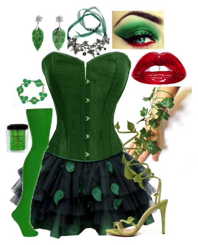 """Halloween Costume: Poison Ivy"" by secretsoftheslytherin ❤ liked on Polyvore featuring NYX and Bling Jewelry"