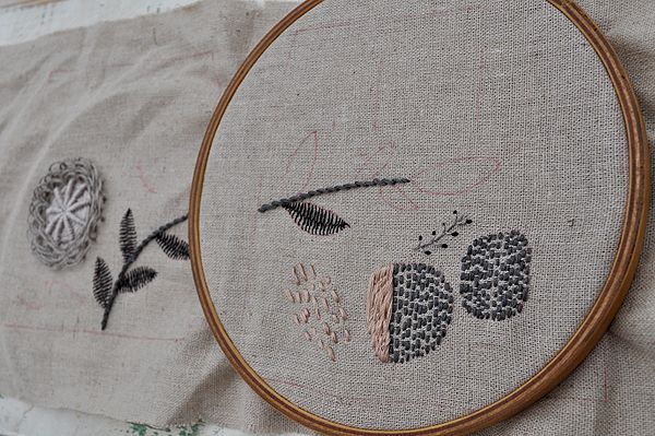 love her embroidery and her crocheted orb garlands