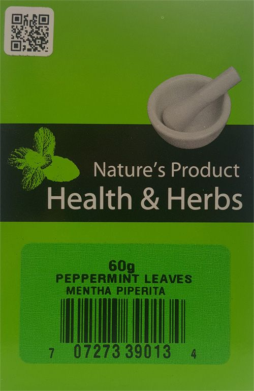 Natures Product  Health & Herbs Peppermint Leaves 60g Mentha Piperita