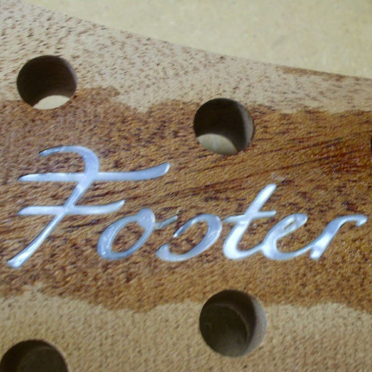 Head stock inlay complete on Foster Guitars model F8001