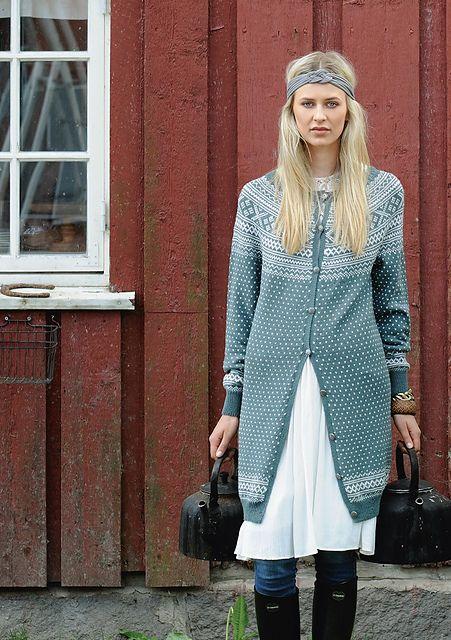 "Ravelry: Nr 5 ""Setesdal"" lang kofte med rundfelling pattern by Sandnes Design"