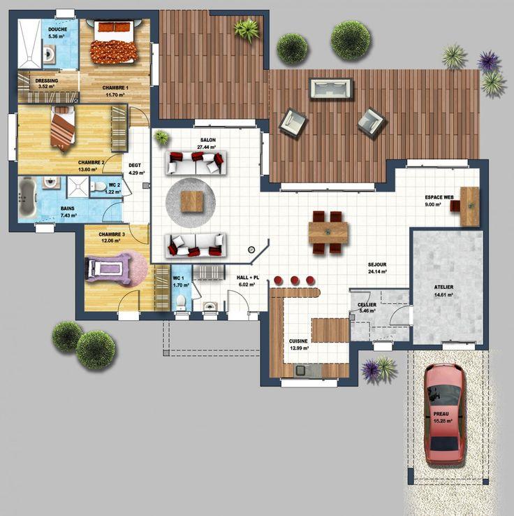 Best 20 plan maison 3d ideas on pinterest d house plan for Constructeur maison individuelle tahiti