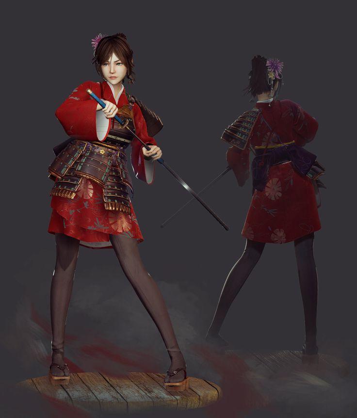Character Costume Design Tutorial : Artstation samurai girl saimon ma d pinterest