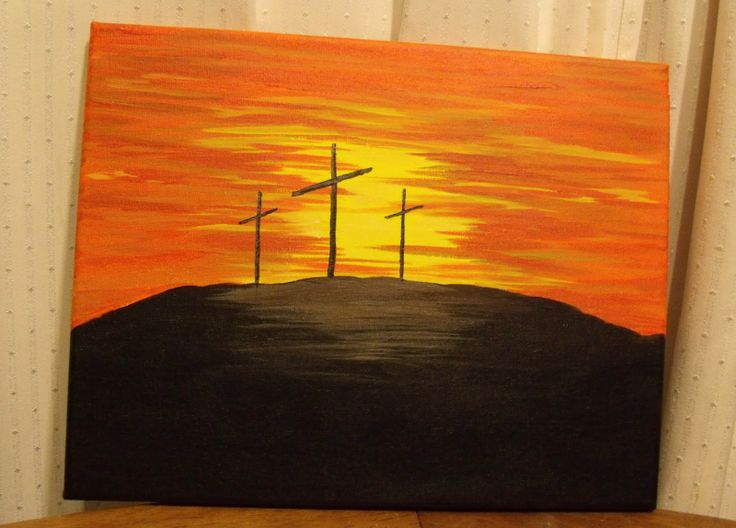 simple painting crosses on hill #paint