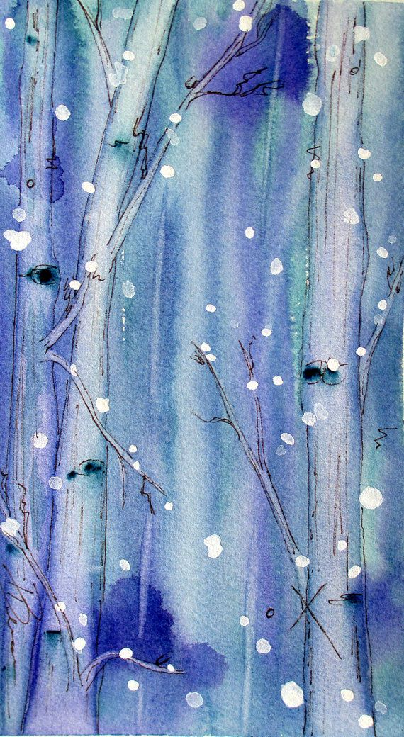 Winter Landscape Art, Original Watercolor Painting of Snowy Aspens, Tree Art, Woodland Art, Holiday Decor, Serene Landscape Watercolor