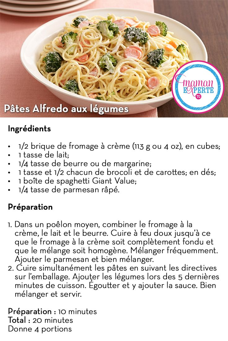 Pâtes Alfredo aux légumes