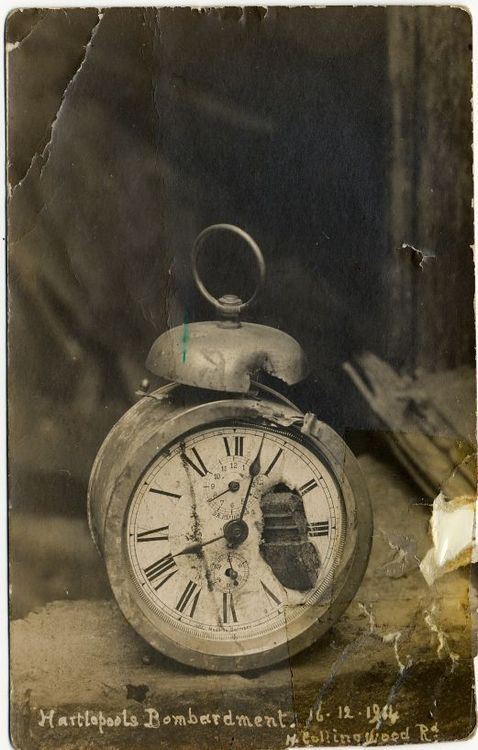 An alarm clock with a piece of German shell embedded in the dial from the German naval raid on Hartlepool, UK, December 16, 1914.