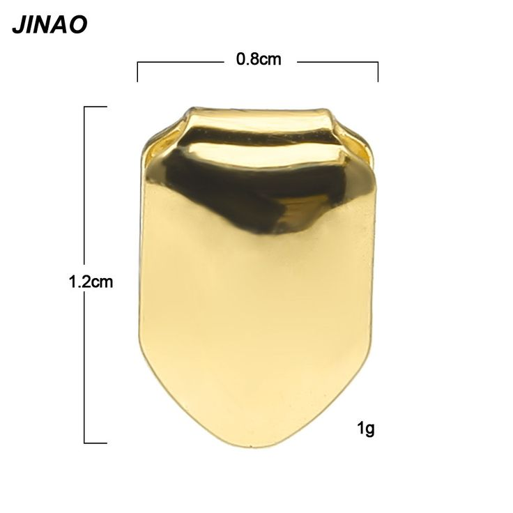 JINAO New Custom Fit Gold Plated Hip Hop Single Tooth Grillz Cap Top & Bottom Grill gold teeth caps