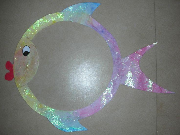 J'ai dessiné la forme du poissonen me servant de deux assiettes et d'un bol. Théophile (2 ans) l'a peint avec de la...
