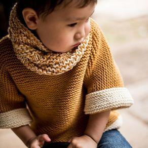 Pull enfant moutarde & crème, tricoté main en pure laine mérinos