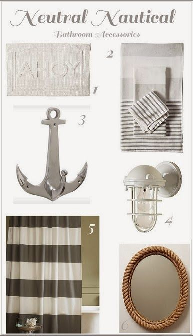 one  Serena & Lily AHOY Bath Mat    two  Serena & LilY Fouta Bath Towels -Dove Grey    three  Wayfair.com Zodax Anchors Away Wa...