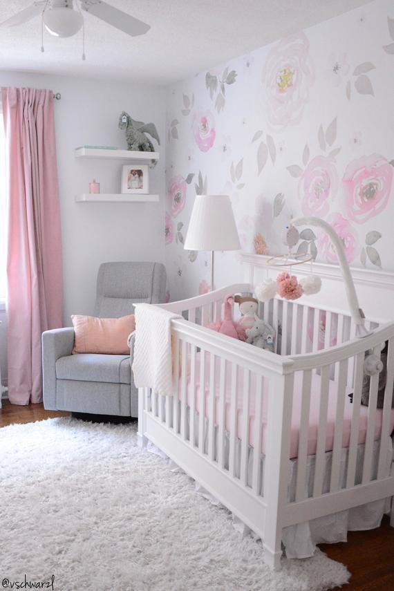 Vintage Floral Tapete, abnehmbare Wandbild, Vintage Kinderzimmer Dekor, Blumenmuster Wandverkleidung, Repositionierbare # 65   – Maison