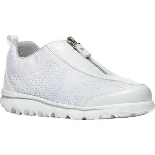 Women's Propet TravelActiv Zip Up Sneaker White/ Mesh