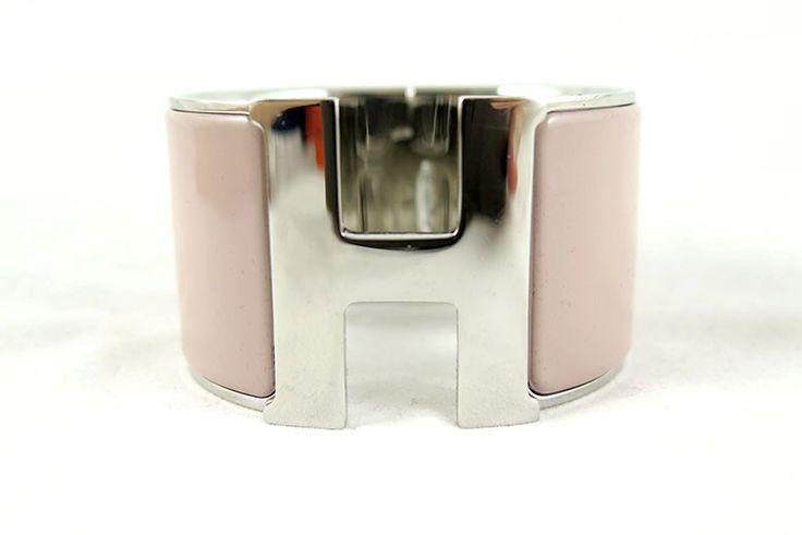 Hermes 2014 Clic Clac Pink XL Enamel Bangle Bracelet with Palladium Hardware