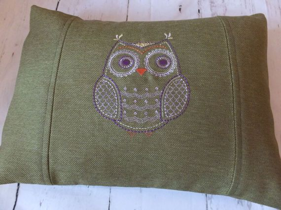 Handmade Machine Embroidered Owl Cushion