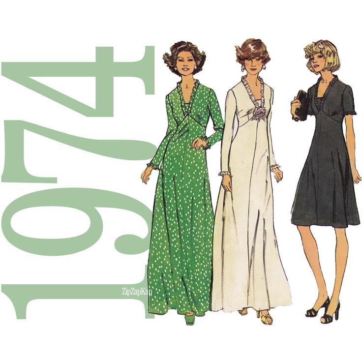 1970s Maxi Dress Pattern Misses V Neck Dress Pattern by ZipZapKap