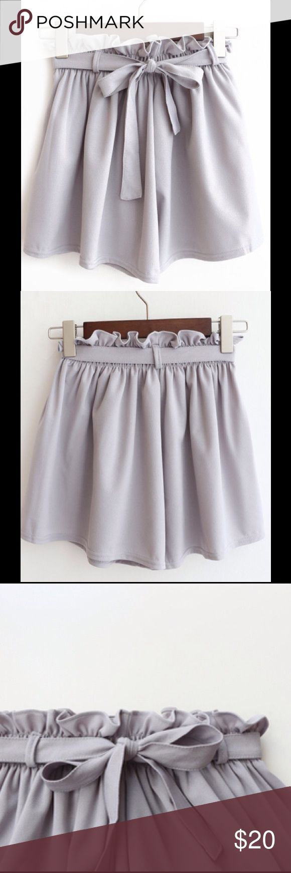 Last2️⃣! Gray Dressy Shorts Elastic Bow Tie Waist So cute! Flouncy gray dress shorts in a comfy, opaque chiffon-like material with a tie belt. The easily accommodating elastic waist fits comfortably between size S to M (size 2 up to 8). Just as cute and feminine as a skirt! Boutique - new in package, but never had tags. No trades/holds. Bundle for 10% off! Shorts