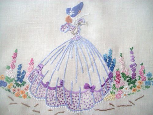 2 gorgeous vintage hand embroidered irish linen tray cloths ~~crinoline lady
