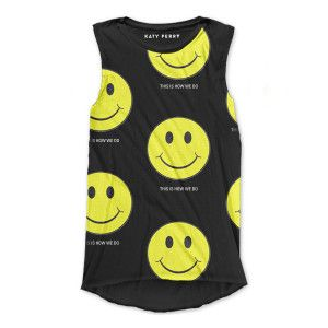 Katy Perry Happy How We Do Tank Top in Black printed on 100% Cotton T-Shirt.