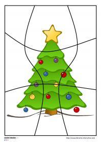 Puzzles de Noël 28 puzzles sur le thème de Noël et déclinés en 4, 6, 9 et 12 pièces avec des illustrations variées (Père Noël, sapin de noël, bonhomme de neige, traîneau, rennes, cadeaux, bougie, houx, flocon de neige...) Ils pourront être plastifiés ou utilisés directement comme exercices.