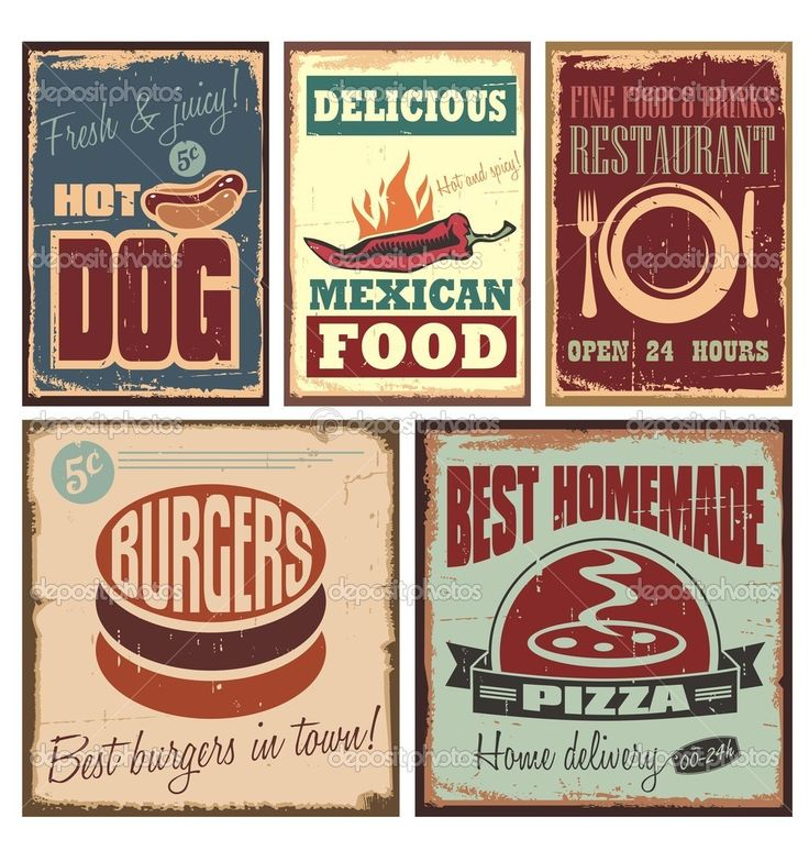 Vintage style tin pins and posters