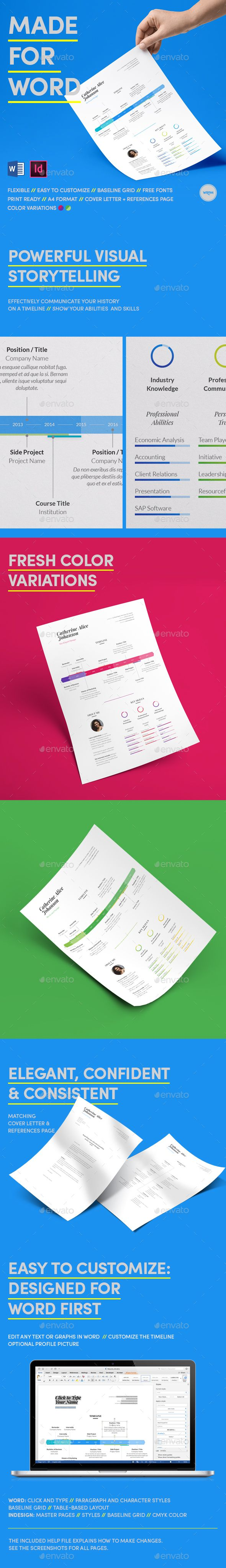 Infographic Resume Made for Word — InDesign INDD #references #blue • Available here → https://graphicriver.net/item/timeline-resume-made-for-word/19627424?ref=pxcr