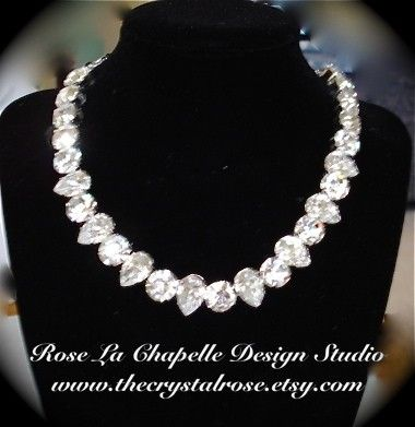Chunky Swarovski Crystal Rhinestone Bridal by TheCrystalRose - crystal necklace, bridal necklace