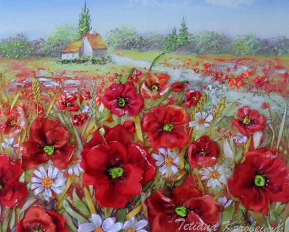 picture Poppies  Silk ribbon embroidery by SilkRibbonembroidery